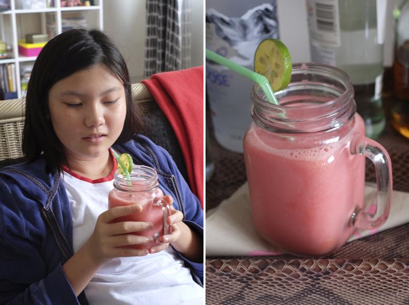Jessica and Watermelon Yoghurt Drinks