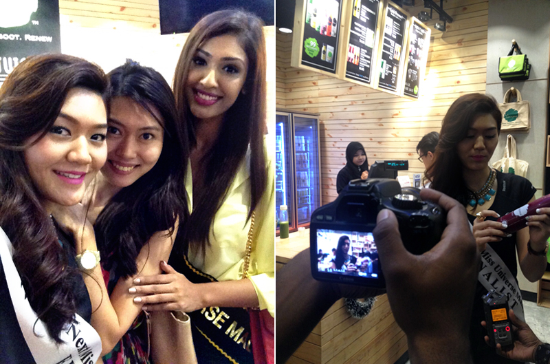 With Sabrina Bennett, Miss Universe Malaysia 2014 | Amanda being recorded by Charles from MUMO