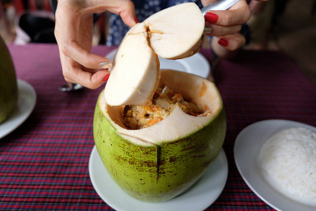 Fish amok in a coconut!